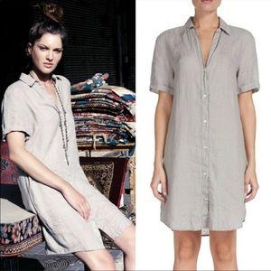 ELAN 100% linen dress grey/taupe